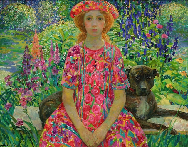⊰ Posing with Posies ⊱ paintings & illustrations of women & children with flowers - Olga Suvorova