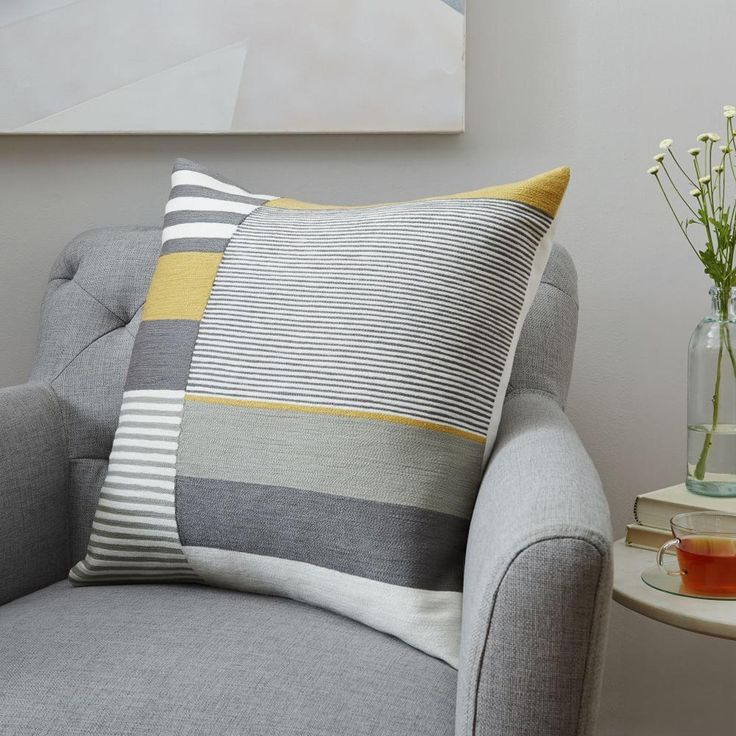 Margo Selby Crewel Colourblock Cushion Cover - Frost Grey