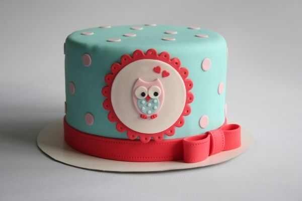 Owl christening or stork tea cake