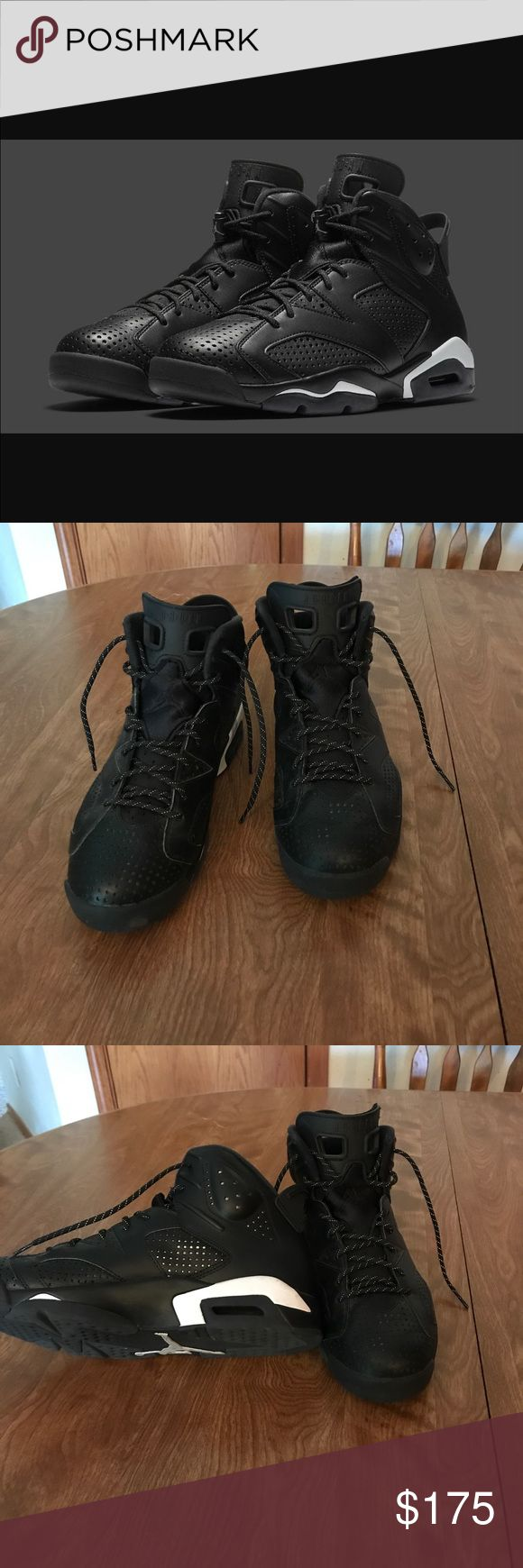 Jordan Black Cat 6 used I have worn these like 5 times but they are still in great shape. 9/10 Condition. I work indoors. 👍. All my shoes are authentic and they ship same day or first thing the next morning. Everytime!!  THESE COME WITH OG BOX Jordan Shoes Sneakers
