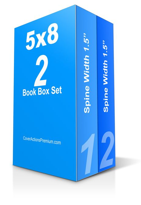 Photoshop Cover Actions Free Download- Thick 2-Book Box Set Mockup