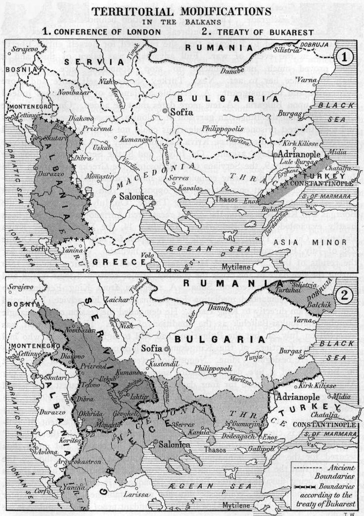 1. Balkanski rat: 1912. godina, Srbija, Crna Gora i Grčka tjeraju Tursku s balkanskih prostora. 2. Balkanski rat: 1913., Rumunjska i Turska zaratile s Bugarskom. Bugarska zatražila mirnovni sporazum.
