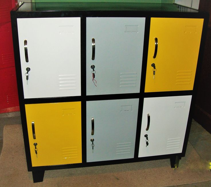 Grey, White and yellow combo Locker by NZ Locker Shop