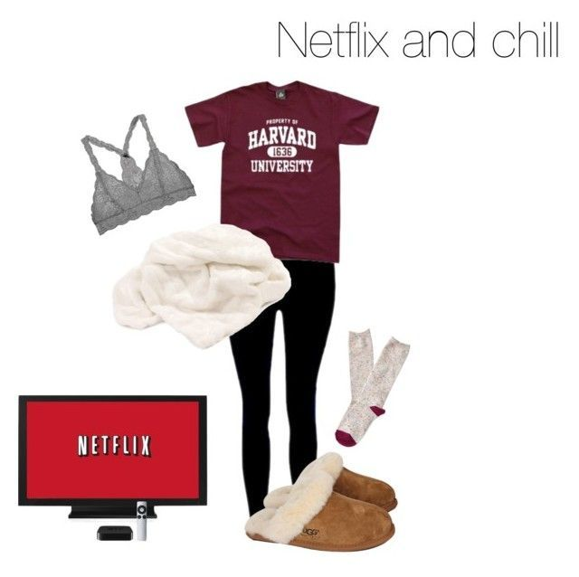 """""""Netflix and chill"""" by danielleflickinger on Polyvore featuring Howard Elliott, UGG Australia and Aéropostale"""
