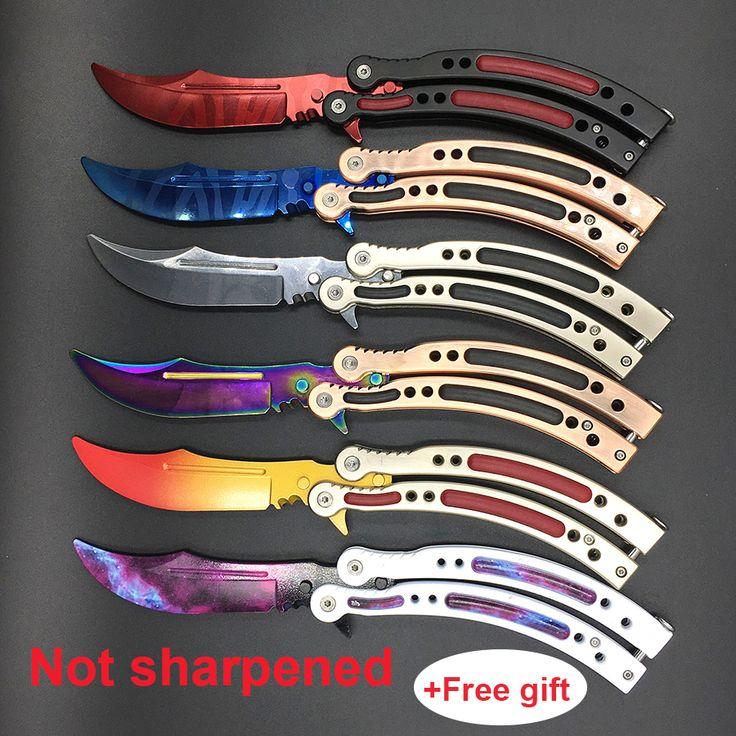Cs الذهاب فراشة في التدريب karambit سكين الفولاذ الصلب للطي نصل السكين سكين فراشة هدية + مفك أنماط كثيرة