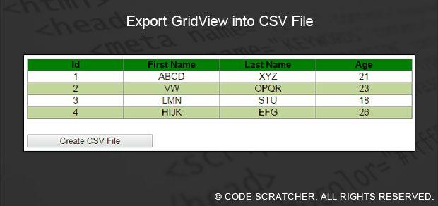 c gridview output to csv pdf excel