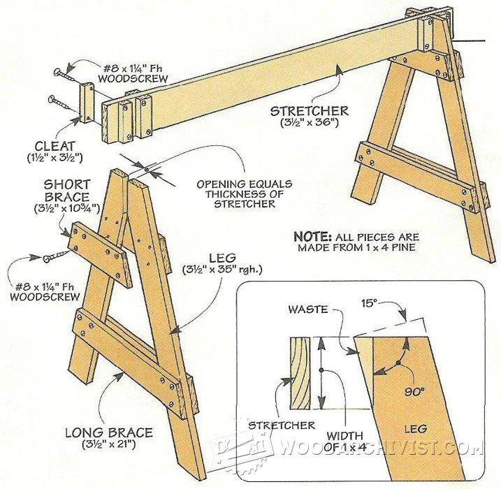 Knock Down Sawhorses - Workshop Solutions Plans, Tips and Tricks | WoodArchivist.com