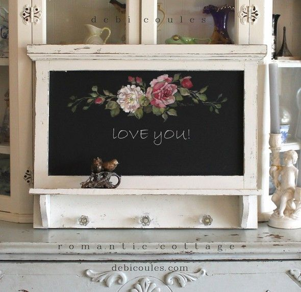 Custom Color and Decorative Shabby Romantic Vintage Style Roses Chalkboard with Shelf - Debi Coules Romantic Art