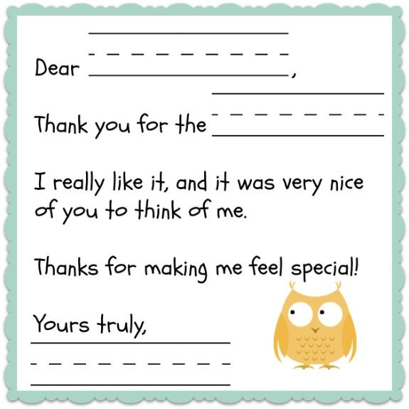 Thank You Note Template For Kids Free