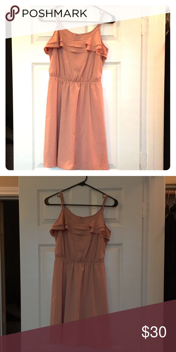 Women's knee length dress Spaghetti straps, raised polka-dots, salmon color. LC Lauren Conrad Dresses Midi