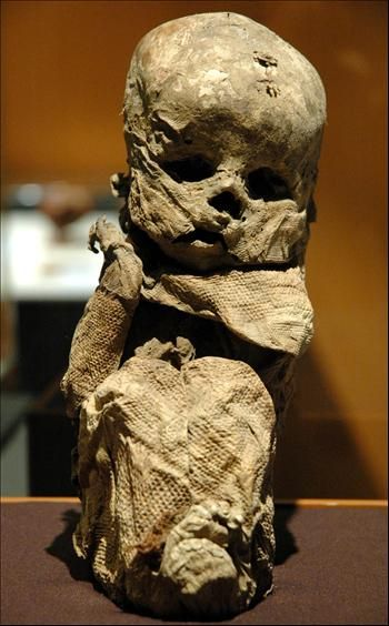 A mummy of a baby from the Chachapoyas culture is ... Real Egyptian Baby Mummies