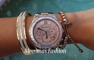 Michael Kors MADISON RoseGold Glitz Chronograph Women's Watch MK5811 - NWT