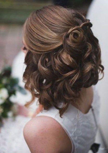 peinados novia cabello corto media cola