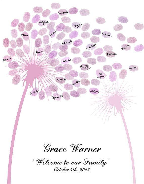 Baby Birthday Fingerprint Dandelion Flower by CustombyBernolli