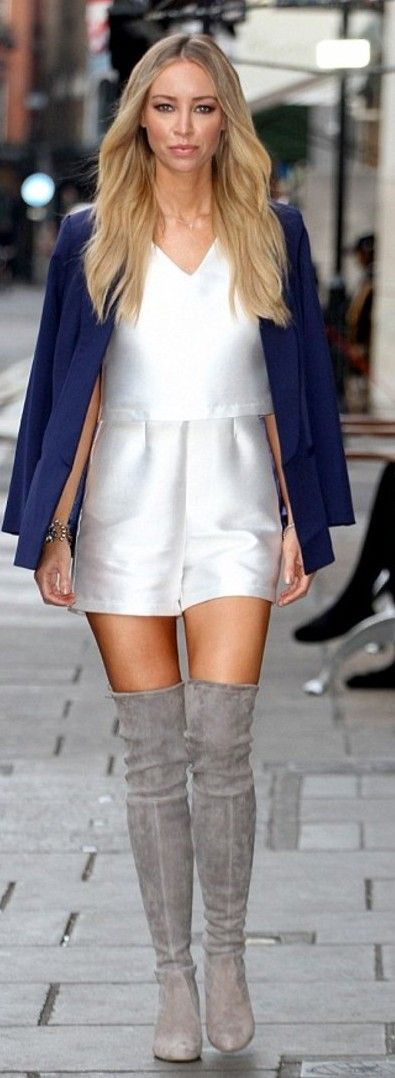 By lauren pope white satin cropped playsuit...love the boots!