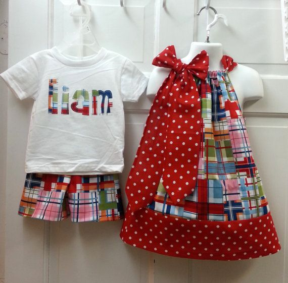 Adorable Matching Brother Sister Set Personalized Madras Short Set and Matching Pillowcase Dress Made to Order 6M to 4T on Etsy, $50.00