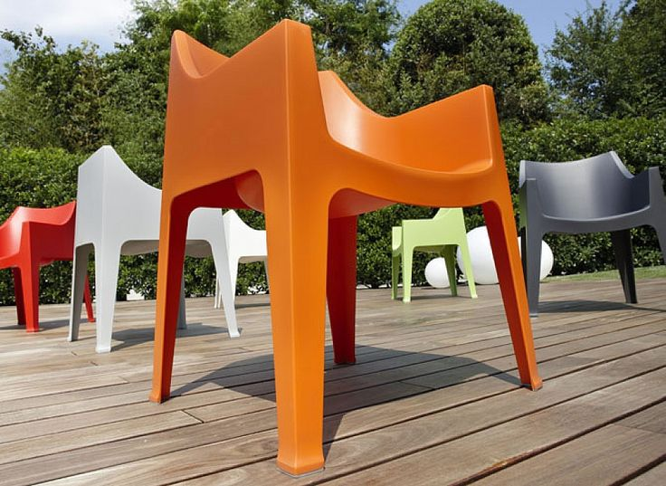 #Modern #plastic #recyclable #garden #stackable #patio #oudoor #orange #white #red #yelllow #armchair Lona by Scab