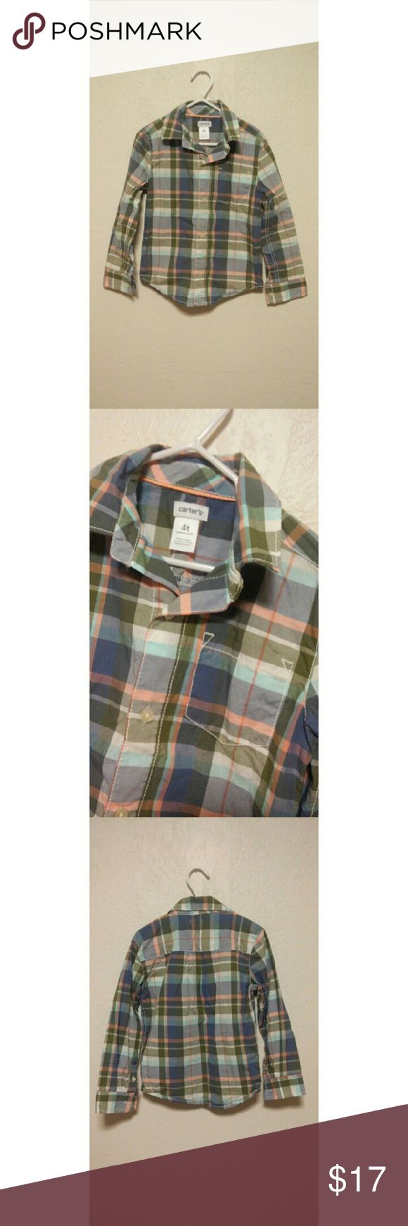 {Carter's} boy's pastel plaid button up size 4T Carter's  Pastel colors including green, blue, peach, sky blue and white. Boy's size 4T Front pocket   Worn one time for pictures, and has been sitting in closet ever since.   Such a cute shirt, I love it! Carter's Shirts & Tops Button Down Shirts