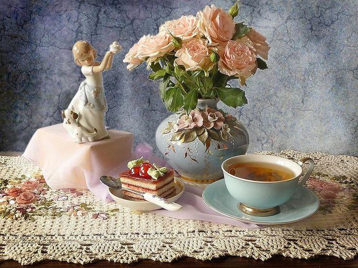 Открытка с вечерним чаем