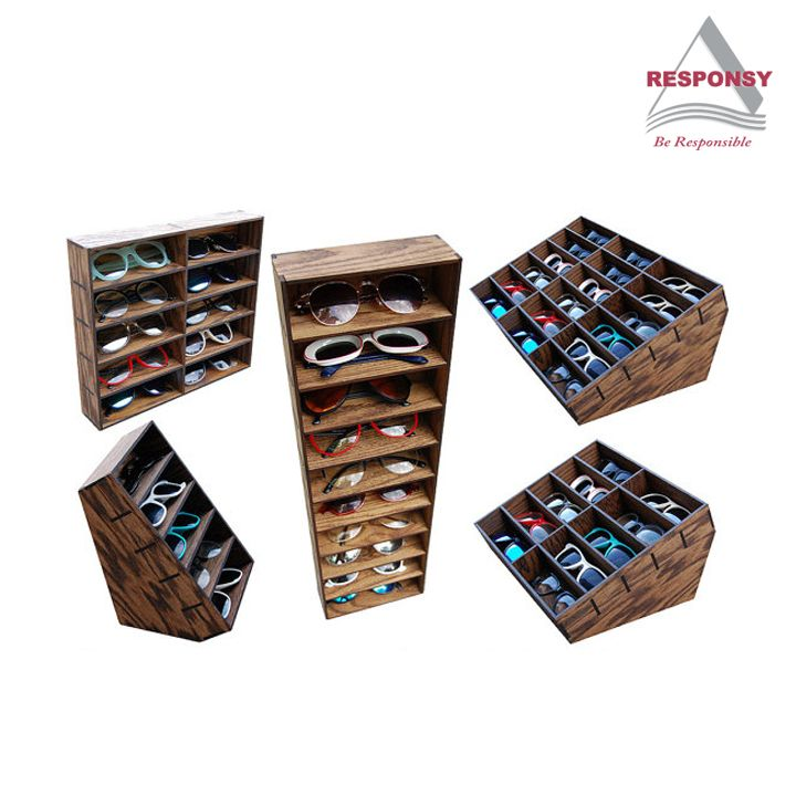 wooden sunglasses display case