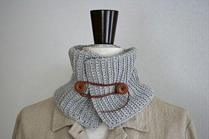 うね編みアレンジのネックウォーマー_かぎ針編み