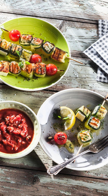 Zucchini-Spieße mit Patros #patros #kaese #rezept #feta #grillen #zucchini