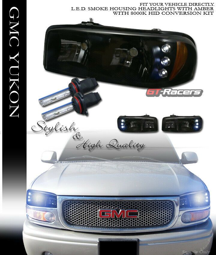 Ad Ebay 8000k Hid Xenon Smoke Led Headlights Amber Aw For 99 06