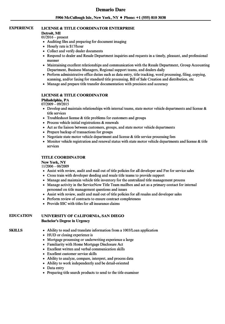 resume for title insurance Google Search in 2020