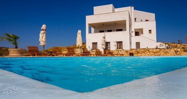 "Ready to swim ? Check ""Villa Sophias"" - Patmos, Greece ! You can rent it ! #luxury #villa #rent #holidays #greece #vacances #grece #alouer #aroomwithaview #sea #bedroom #decoration #swimmingpool #beautiful"