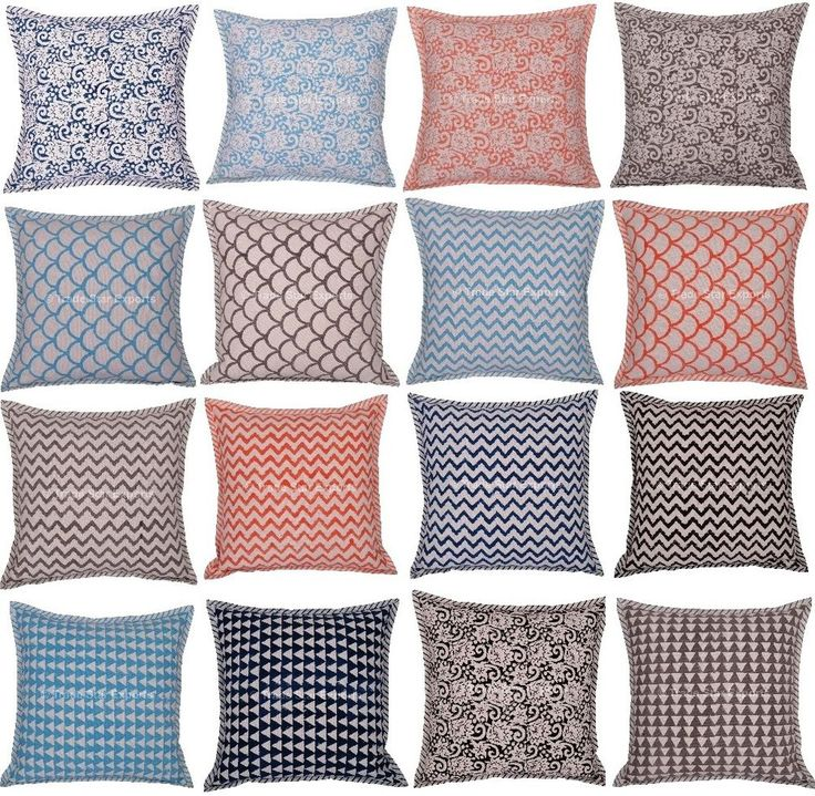 "Indian Block Print Pillow Case 16"" Reversible Canvas Cover Throw Cushion Cover #Handmade #ArtDecoStyle"