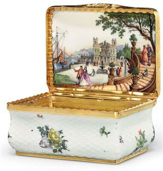 A GILT-METAL MOUNTED MEISSEN PORCELAIN ALTOZIER-MOLDED SNUFF-BOX AND COVER, circa 1750 (decoration on interior possibly later date)