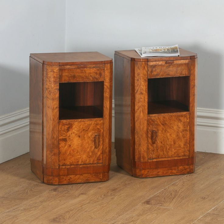 Antique Pair of English Art Deco Burr Walnut Bedside Cabinets (Circa 1930)