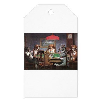 Dogs Playing Poker Gift Tags - dog puppy dogs doggy pup hound love pet best friend