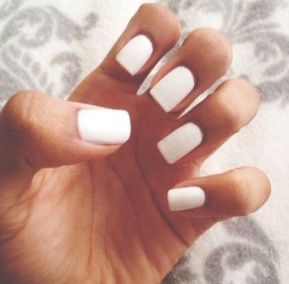 white matte nails tumblr