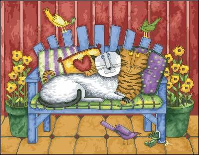 Парочка - Домашние кошки - Схемы вышивки - Каталог схем - Ларчик рукоделия