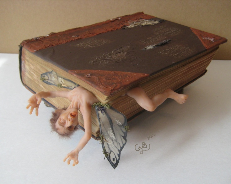 Book Learning. Polymer clay and mixed media. Gavy Swan, 2012.   Just a wee preview of what I've got in store for Conveyed (April 7th - 30th) at the Mad and Noisy Gallery in Creemore, Ontario.