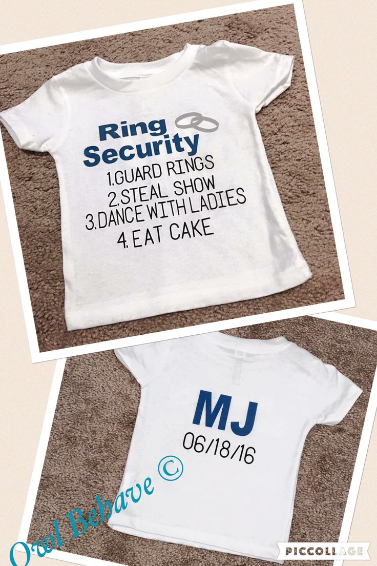 Ring Security Infant/kids T-shirt. Customizable Name and Wedding Date! $15 + $7.95 Shipping and Handling!   https://m.facebook.com/OwlBehave/ http://www.owlbehave.com/