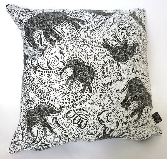 Paisley Elephant Cushion Pillow  screen by PaisleyPowerShop