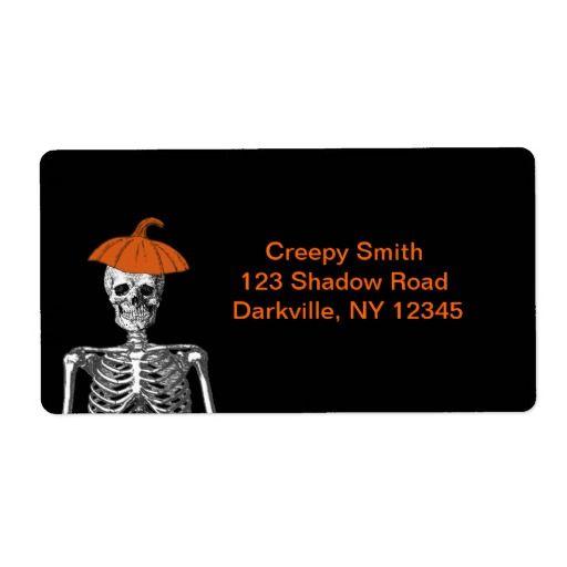 Esqueleto do Dia das Bruxas Etiqueta Endereço De Retorno