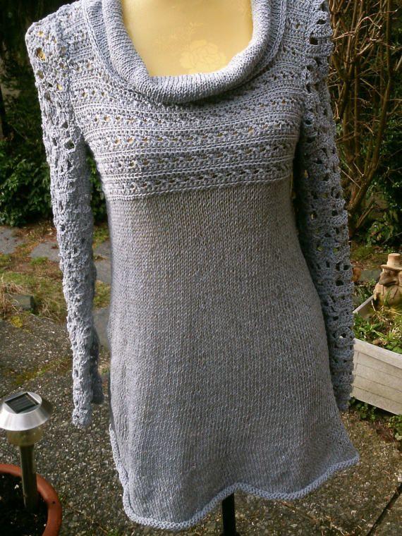 Strick-Häkel-Kleid silber/grau Gr. 36-38 S-M von meineStrickerei