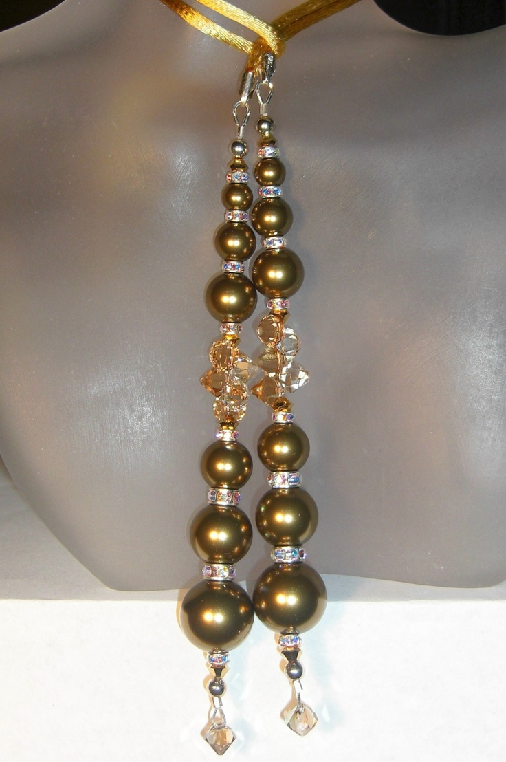 Swarovski Crystal and Pearl Lariat Necklace in Gold. $126.00, via Etsy.