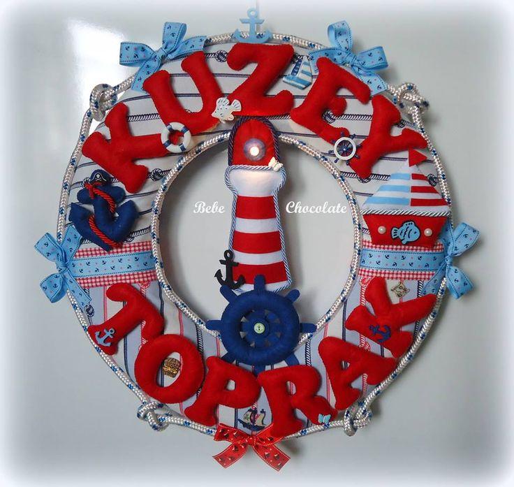 felt sea lighthouse, felt sailor, ışıklı deniz feneri, felt pirate, keçe korsan kapı süsü, deniz temalı kapı süsü, bebek kapı süsü, korsan odası, keçe çapa, keçe korsan, bebechocolate, felt fish,