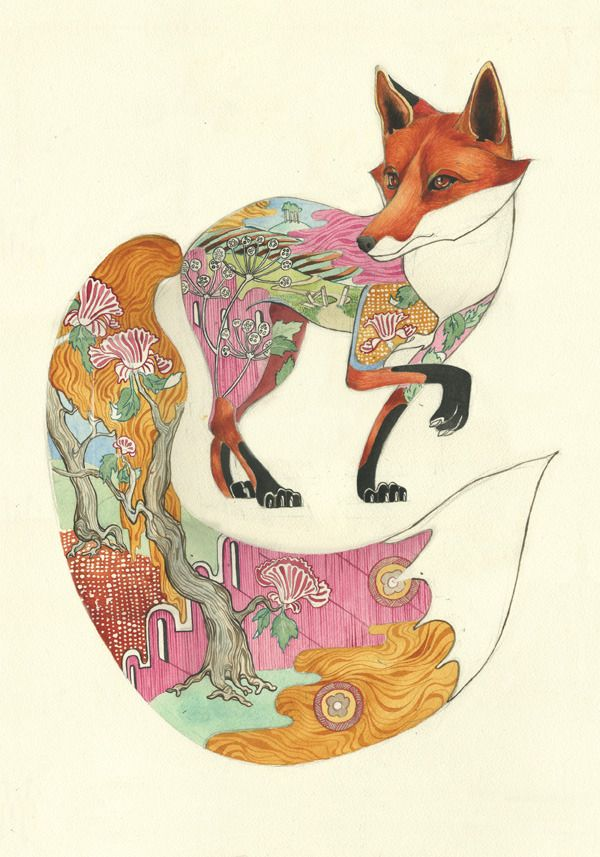 PSYCHOTROPIC ILLUSTRATIONS - Daniel Mackie is an award-winning illustrator who started practicing his craft in 1995. He creates a prismatic/psychotropic visions in watercolor – striking and engagingly esoteric. Each animals richly colored habitat is depicted within its own form, in a style influenced by traditional Japanese prints, vintage Chinese wallpaper, and Art Deco.