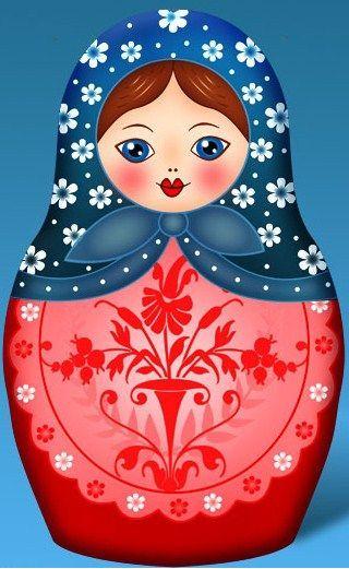 Matryoshka - azul e vermelha