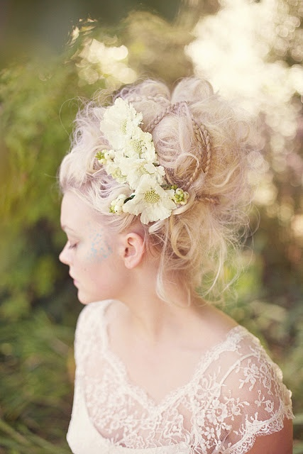 Loosely tangled and braided updo