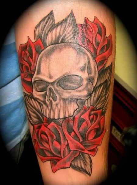 skull tattoo 60 feminine skull tattoo idea skull with red roses and black leaves looking. Black Bedroom Furniture Sets. Home Design Ideas