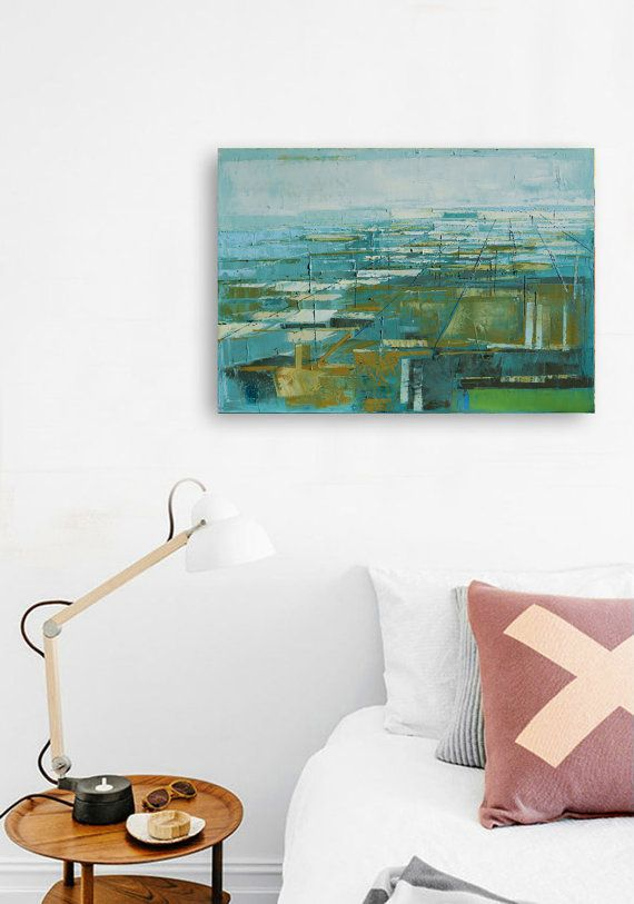 Original abstract oil painting Perspective of the by INKAARTSHOP