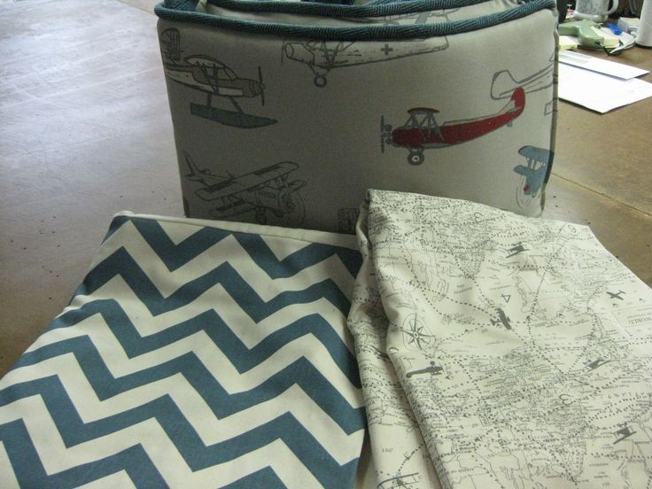 Vintage Airplane fabric and World Map fabric are paired with a Chevron for crib bedding