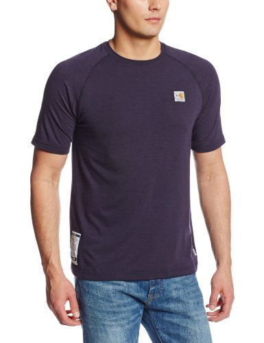 Carhartt Men's Flame Resistant Force Short Sleeve T-Shirt:   This easy-wearing, hard-working 5.5-ounce, 48% mod acrylic/48% tencel/4% spandex T-shirt wicks away sweat for comfort and fights odors. • FastDry technology wicks away sweat for comfort • Fights odors • Stretchable, spandex-reinforced rib-knit fabric for comfort • Stretchable, spandex-reinforced rib-knit crewneck • Side-seamed construction minimizes twisting • Square hem • HRC 1 label sewn on side seam • Meets the performance...