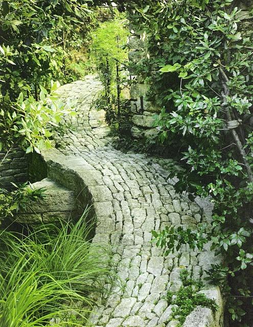 Green textures garden path garden grove pinterest for Garden path stones